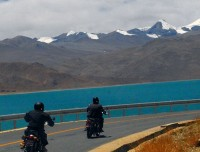 Road in Tibet side EBC Lhasa Motor Biking