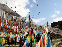 Decorative prayer flags during Saga Dawa